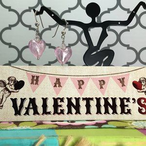 925 Sterling Small Pink Heart Glass Bead Earrings